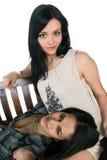 Duas meninas no banco Fotografia de Stock