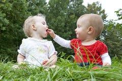 Duas meninas no prado Imagem de Stock Royalty Free