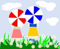 Duas meninas no prado Imagem de Stock