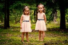 Duas meninas nos vestidos que levantam na floresta Fotos de Stock