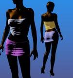 Duas meninas pretas em mini saias - ilustração 3D Fotos de Stock Royalty Free