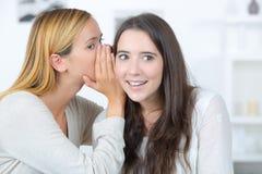 Duas meninas que conversam e que compartilham de seus segredos fotos de stock