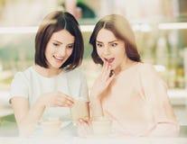 Duas meninas que falam no café com xícaras de café Imagem de Stock