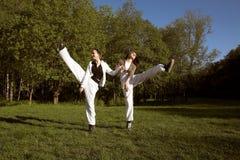 Duas meninas que saltam no parque Imagens de Stock