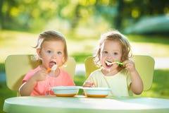 Duas meninas que sentam-se em uma tabela e que comem junto contra o gramado verde Fotografia de Stock Royalty Free