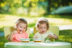 Duas meninas que sentam-se em uma tabela e que comem junto contra o gramado verde Foto de Stock Royalty Free