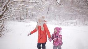Duas meninas que têm a caminhada do divertimento nas madeiras do inverno vídeos de arquivo