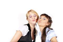 Duas meninas 'sexy' e sorrindo bonitas Foto de Stock Royalty Free