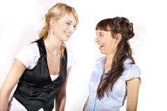 Duas meninas 'sexy' e sorrindo bonitas Imagens de Stock