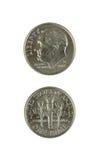 Duas moedas de dez centavos Imagens de Stock