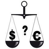 Duas moedas nas escalas Foto de Stock Royalty Free