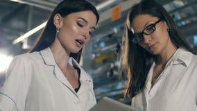 Duas mulheres bonitas na planta video estoque