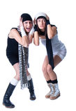 Duas mulheres bonitas novas estão levantando Fotografia de Stock