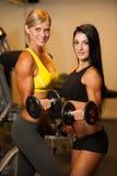 Duas mulheres bonitas que dão certo com pesos na aptidão Foto de Stock