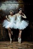 Duas mulheres bonitas que vestem a saia branca do tutu imagem de stock