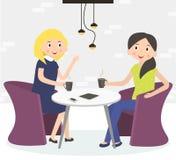 Duas mulheres bonitos dos amigos que bebem o café ilustração royalty free