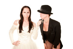 Duas mulheres como a noiva e o noivo Fotos de Stock