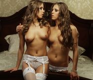 Duas mulheres despidas bonitas Foto de Stock Royalty Free