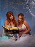 Duas mulheres do duende que lêem um livro Fotografia de Stock Royalty Free