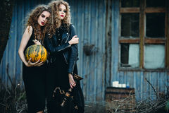 Duas mulheres do vintage como bruxas Imagens de Stock Royalty Free
