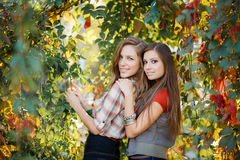 Duas mulheres e uvas selvagens Imagens de Stock