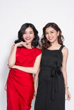 Duas mulheres elegantes nos vestidos agradáveis que estão junto e no havi Fotos de Stock Royalty Free