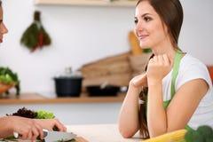 Duas mulheres estão cozinhando em uma cozinha Amigos que têm uma conversa do prazer ao preparar e ao provar a salada Cozinheiro c fotos de stock