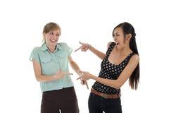 Duas mulheres felizes que têm o divertimento imagem de stock