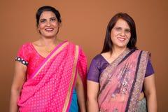 Duas mulheres indianas felizes que vestem a roupa tradicional de Sari Indian foto de stock royalty free