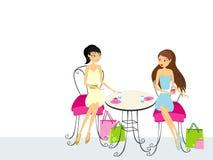 Duas mulheres que bebem o café ilustração royalty free