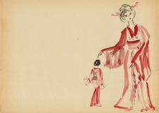 Duas mulheres que dançam em um quimono ilustração royalty free