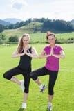 Duas mulheres que estão na pose da árvore da ioga no campo Imagens de Stock Royalty Free