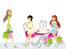 Duas mulheres que sentam-se no café Foto de Stock Royalty Free