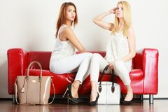 Duas mulheres que sentam-se no sofá que apresenta sacos imagem de stock royalty free