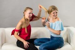 Duas mulheres que têm discutem a luta foto de stock royalty free