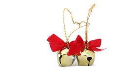 Duas Natal Bels isoladas fotografia de stock royalty free