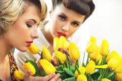 Duas ninfas da flor fotografia de stock royalty free