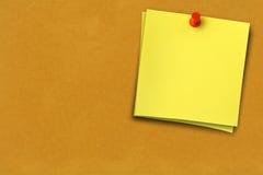 Duas notas amarelas Fotos de Stock Royalty Free