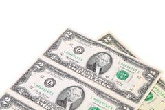 Duas notas de dólar. Imagens de Stock