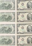 Duas notas de dólar. Fim acima. Imagem de Stock Royalty Free