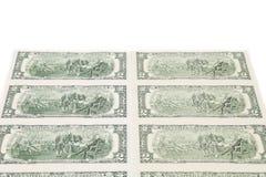 Duas notas de dólar Há um espaço branco para o texto Imagens de Stock Royalty Free