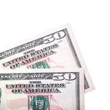 Duas notas de 50 dólares Fotos de Stock