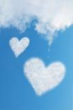 Duas nuvens dadas forma coração Fotografia de Stock Royalty Free