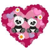 Duas pandas Imagem de Stock Royalty Free