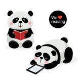 Duas pandas bonitos com conceito da leitura ilustração do vetor