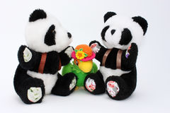 Duas pandas e um papagaio Fotografia de Stock Royalty Free