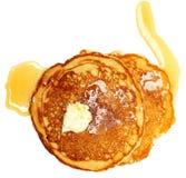 Duas panquecas com manteiga e xarope Imagem de Stock