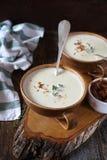Duas parcelas de cebola desnatam a sopa com cebolas caramelizadas imagem de stock royalty free