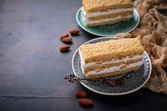 Duas partes de bolo caseiro doce Fotografia de Stock