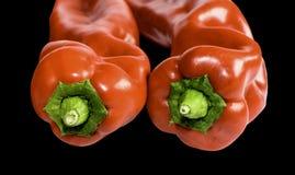 Duas partes dianteiras vermelhas da paprika Foto de Stock Royalty Free